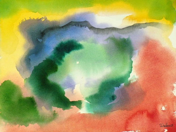 abstract of breaking clouds of yellow, blue, green and dusty rose, watercolor painting