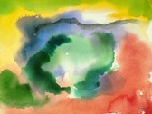 yellow, blue, green and red abstract watercolor painting