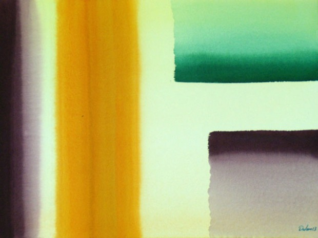 plum-colored and yellow bars and pale-green block, watercolor painting