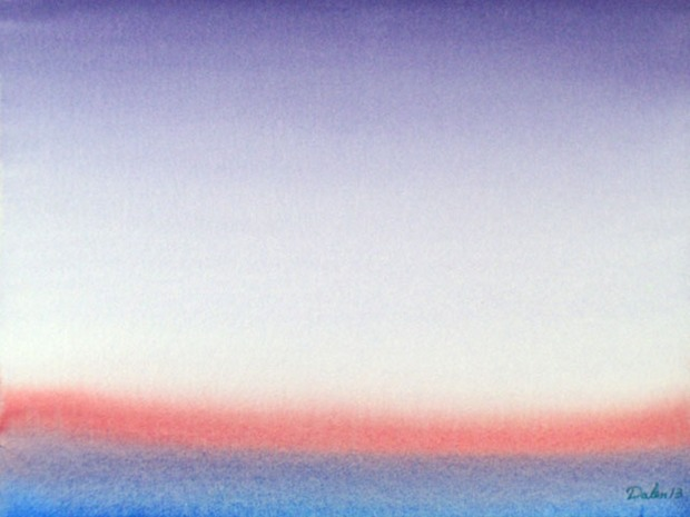 light red and blue horizon with purple sky, watercolor painting