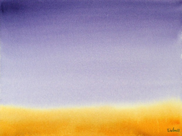 soft orange horizon with purple sky, watercolor painting