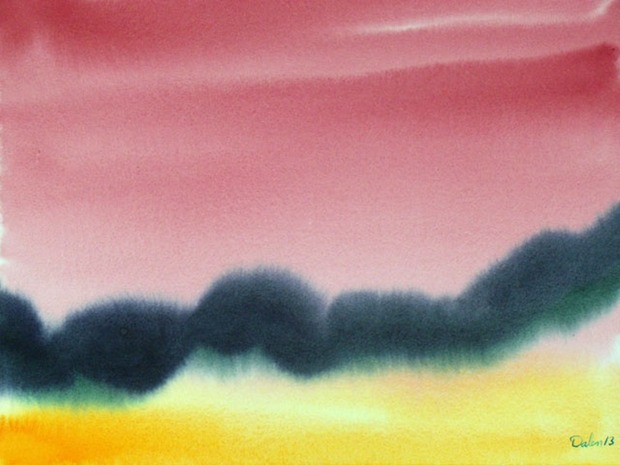 black and yellow rolling horizon with burgundy sky, watercolor painting