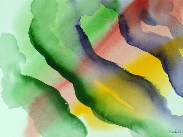 green, red and yellow horizontal oscillations with ginger root-like shapes, watercolor painting