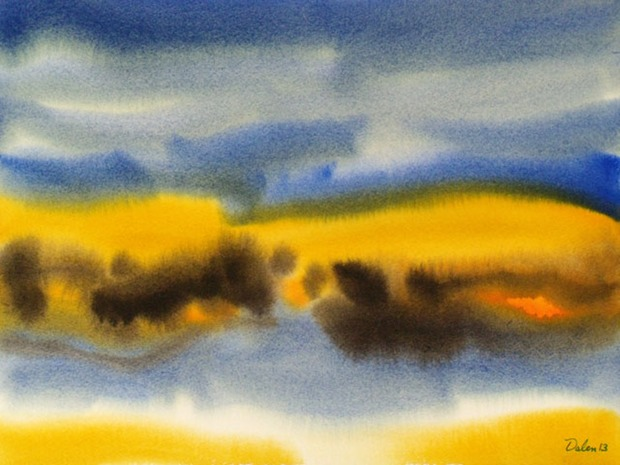 maine seascape with amber dunes, watercolor painting