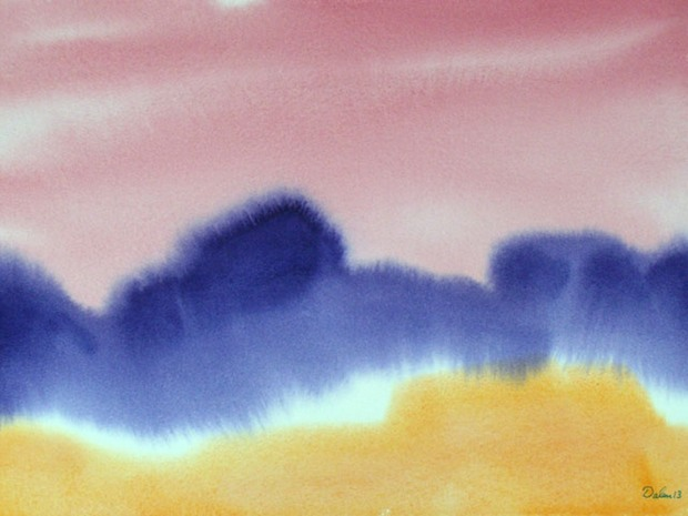 maine seascape with amber dunes, purple waves and burgundy sky, watercolor painting