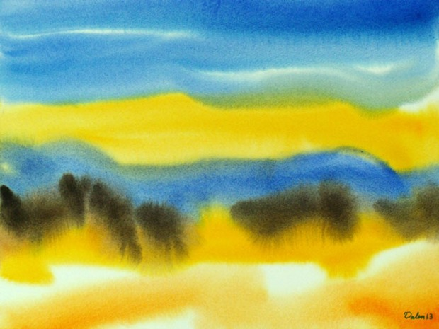brilliant maine seascape with yellow dunes, watercolor painting