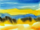 blue maine seascape with yellow dunes, watercolor painting