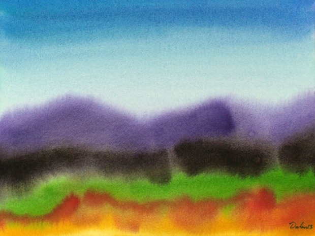 maine seascape with purple and black dunes, watercolor painting